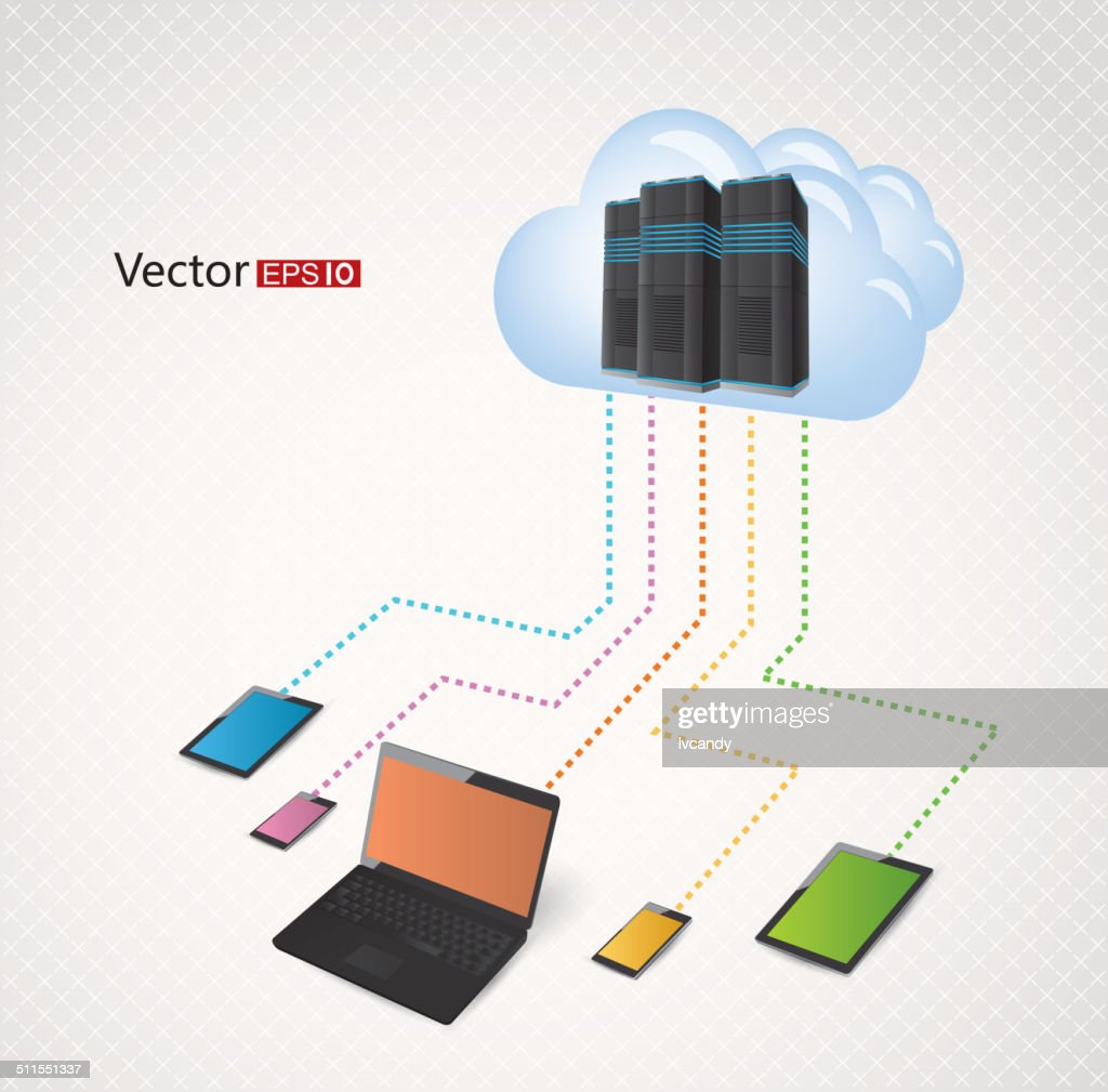 hight resolution of schematic diagram of cloud computing stock vector