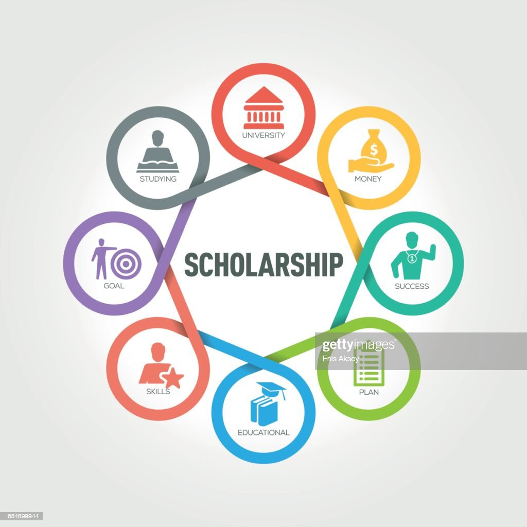 hight resolution of scholarship infographic with 8 steps parts options stock illustration