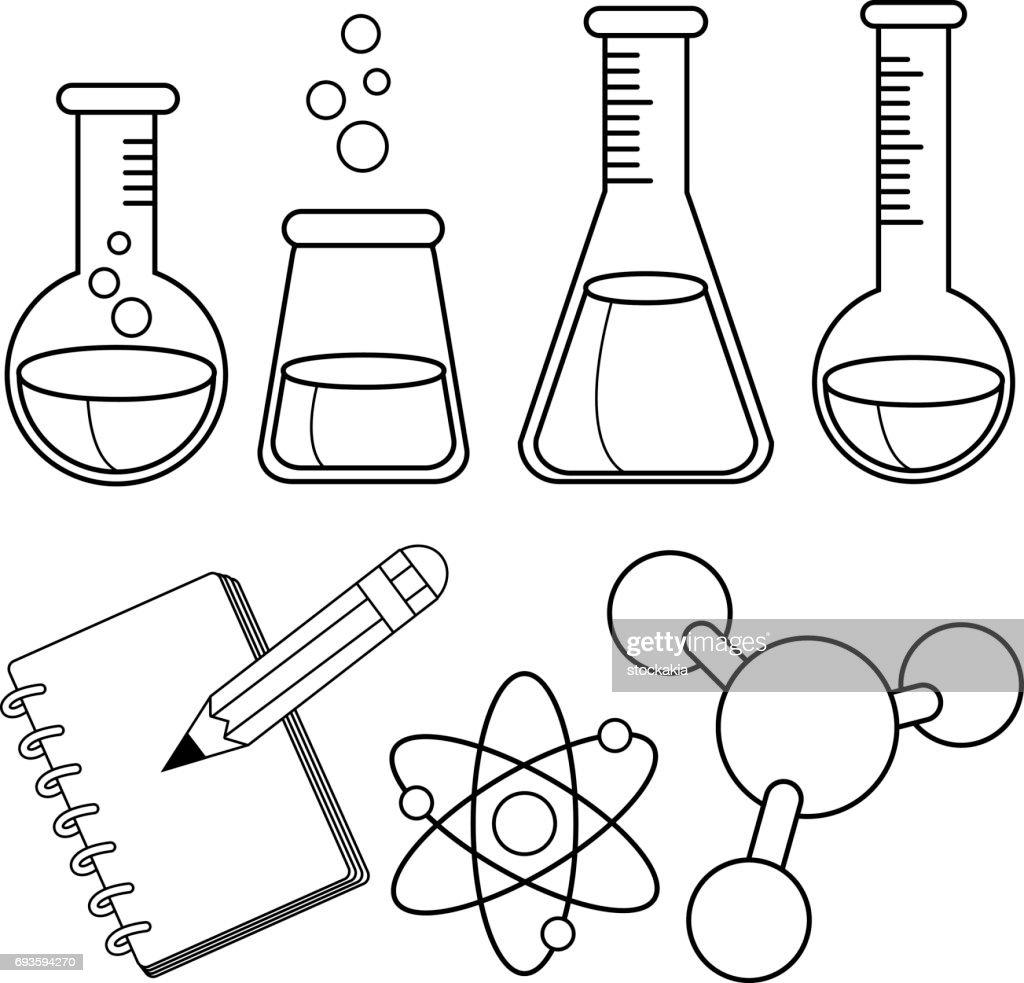 Science And Chemistry Set Black And White Coloring Book