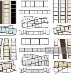 set of empty film strips on white vector illustration [ 1024 x 839 Pixel ]