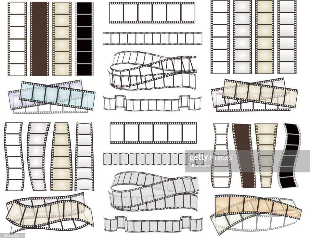 medium resolution of set of empty film strips on white vector illustration