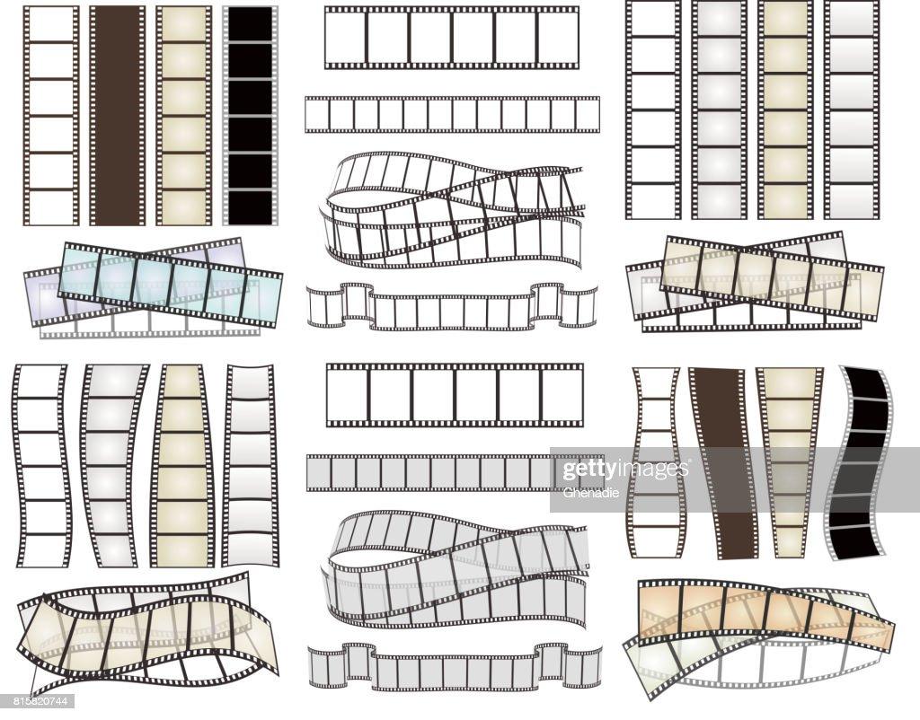 hight resolution of set of empty film strips on white vector illustration