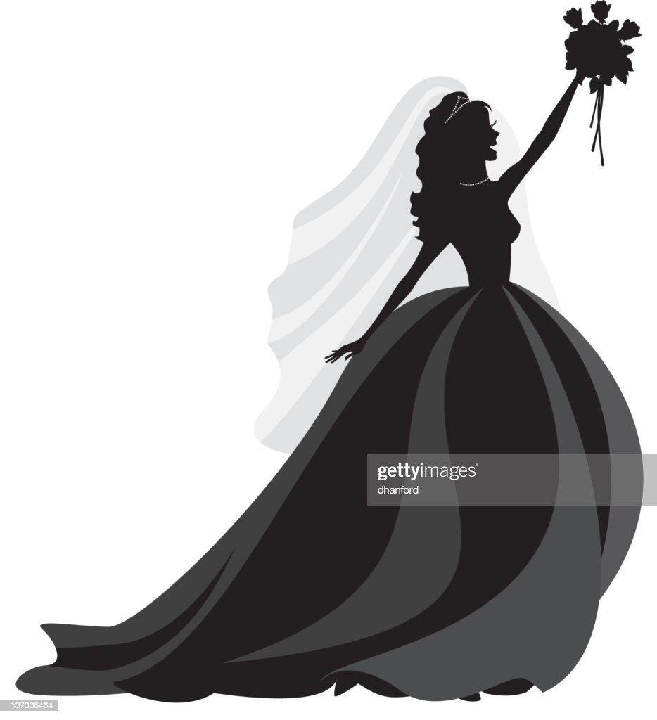Silhouette Bride With Bouquet Vector Art  Getty Images