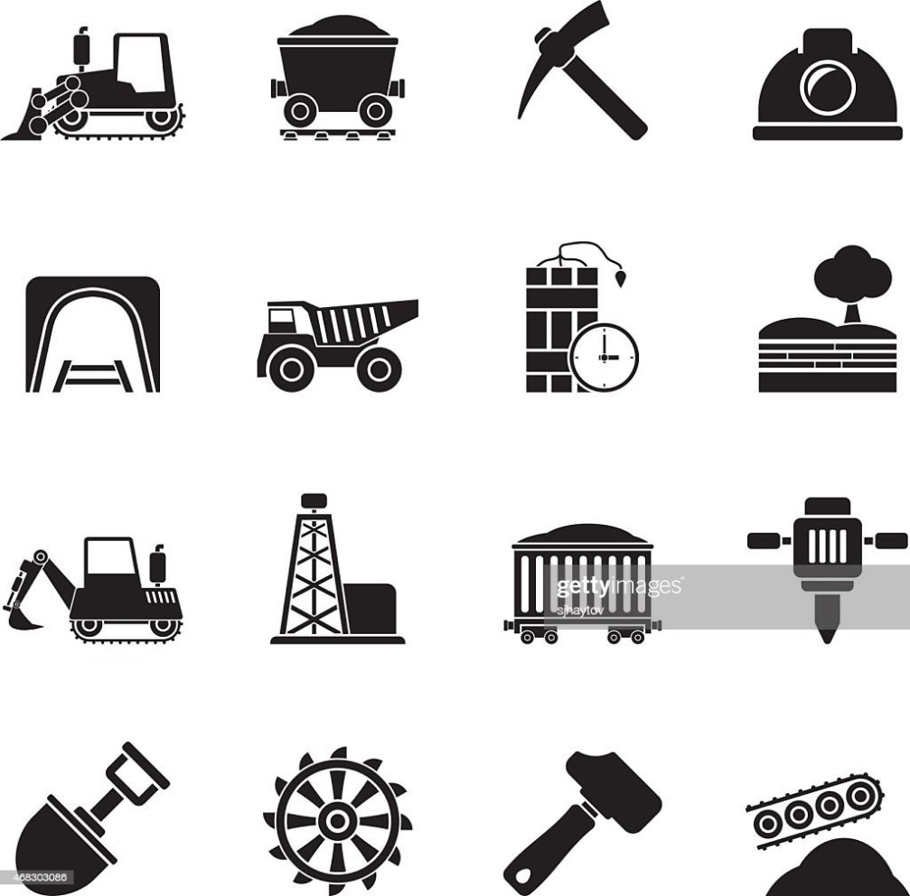 Silhouette Mining And Quarrying Industry Icons Vector Art