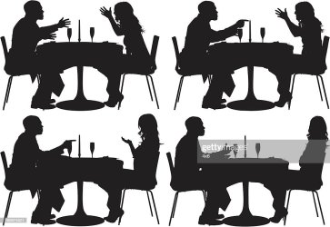 silhouette couple restaurant sitting vector clipart gettyimages