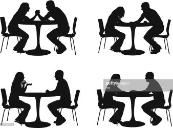 silhouette restaurant couples vector illustration adult embed