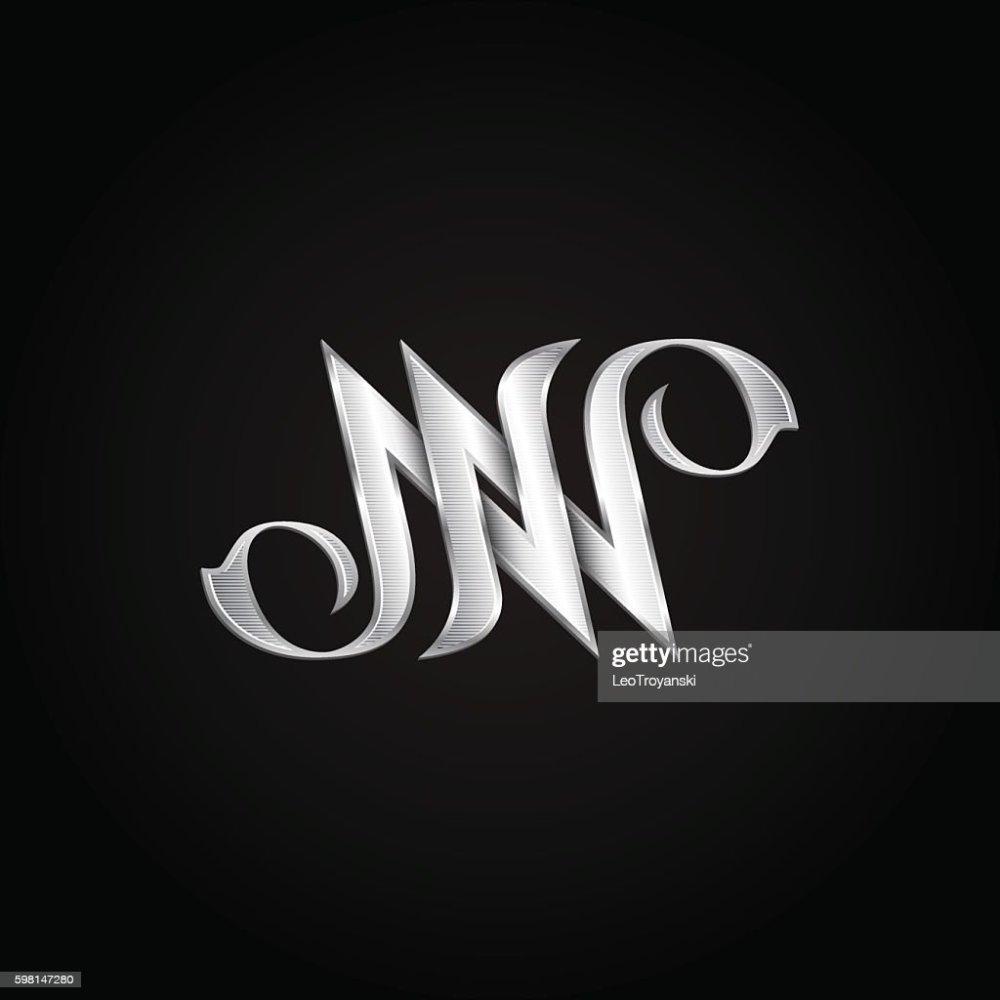 medium resolution of silver monogram double letter n vector golden initials logo design clipart vectoriel