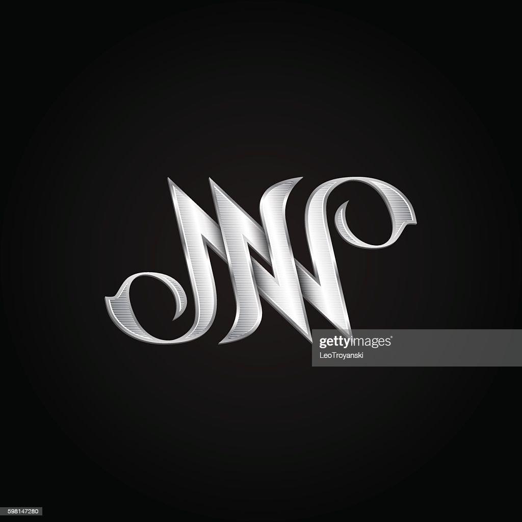 hight resolution of silver monogram double letter n vector golden initials logo design clipart vectoriel