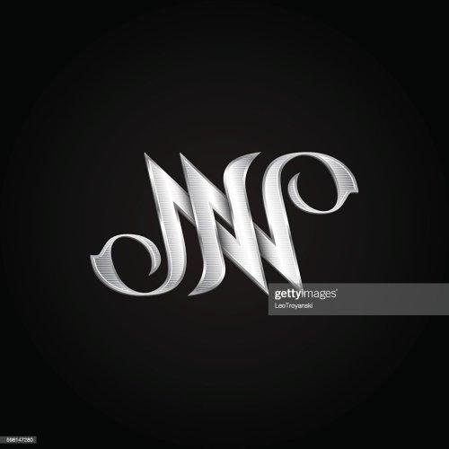 small resolution of silver monogram double letter n vector golden initials logo design clipart vectoriel