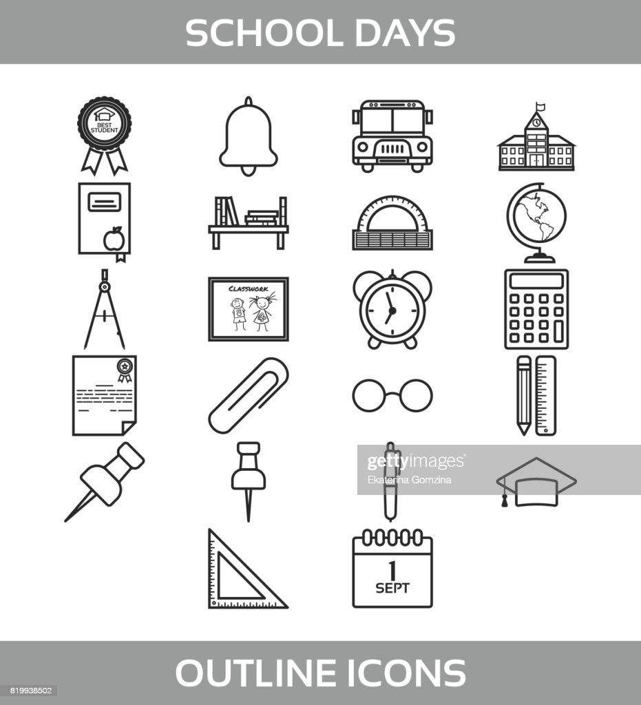hight resolution of simple set of school and office vector line icons contains such icons as school building