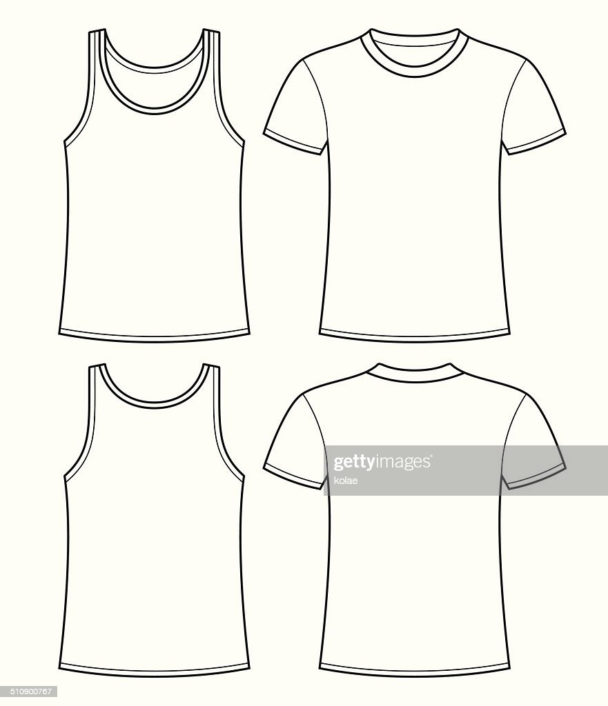 Singlet And Tshirt Template Front And Back stock