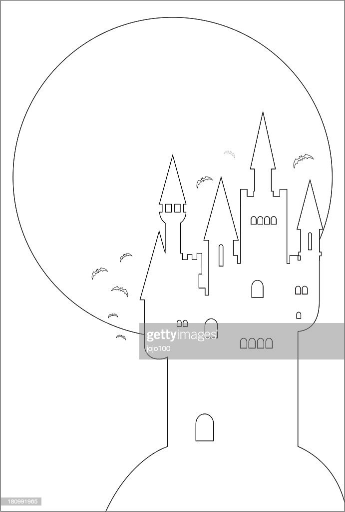 Spooky Halloween Castle And Full Moon In Outline High-Res