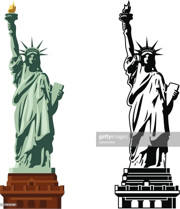Statue Of Liberty In Color And Bw Vector Art Getty Images