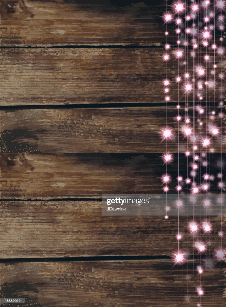 String Of Pink Lights With Wooden Background Vector Art