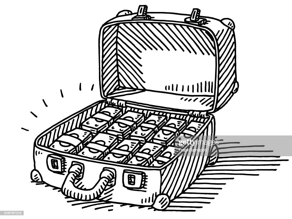 Suitcase Full Of Money Banknotes Drawing Vector Art