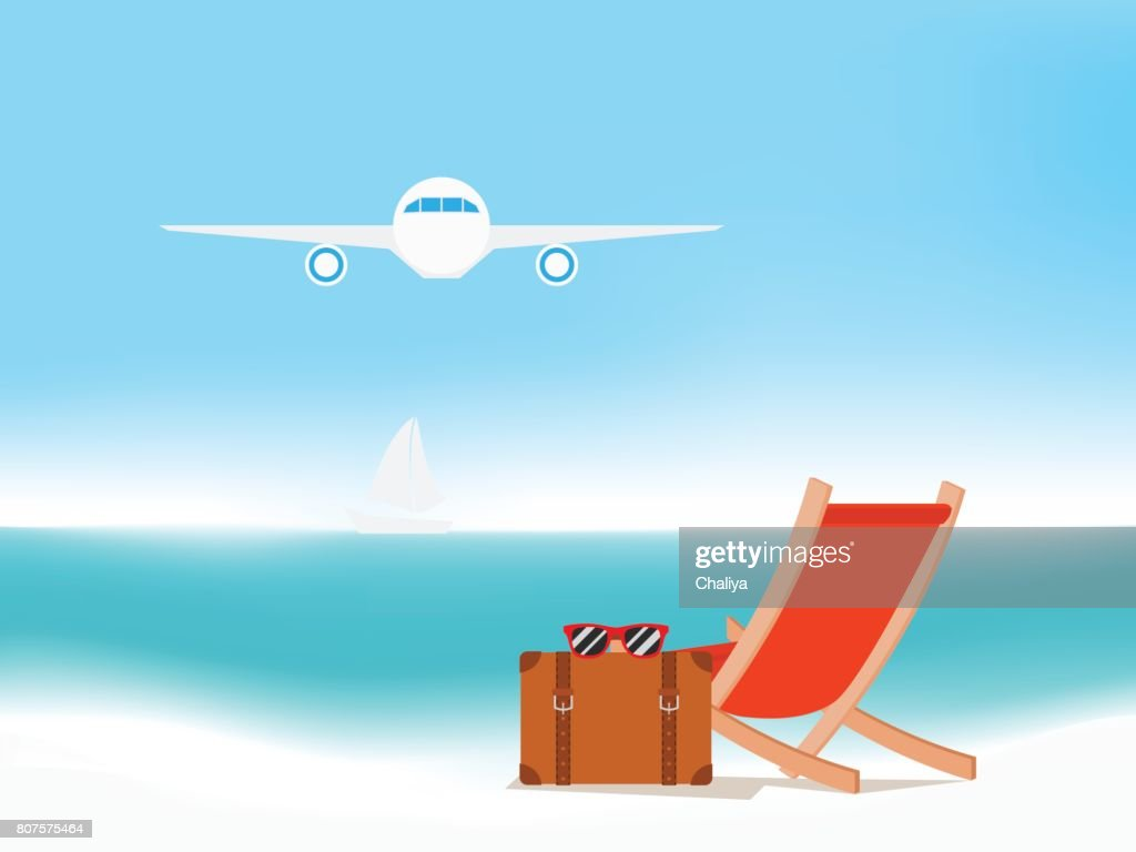 air travel beach chairs aeron chair amazon summer holiday with seascape vacation concept background vector art