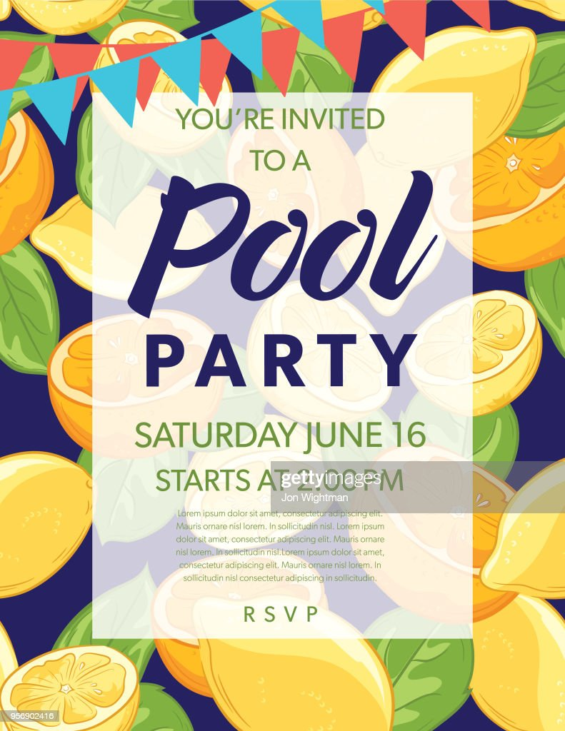 Summer Pool Party Invitation Template With Lemons And Oranges : Vector Art