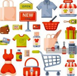 Supermarket Grocery Shopping Cartoon