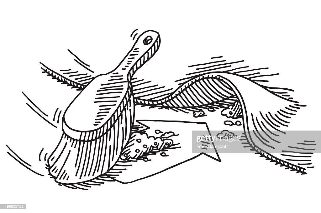 Sweeping Under The Carpet Drawing Vector Art