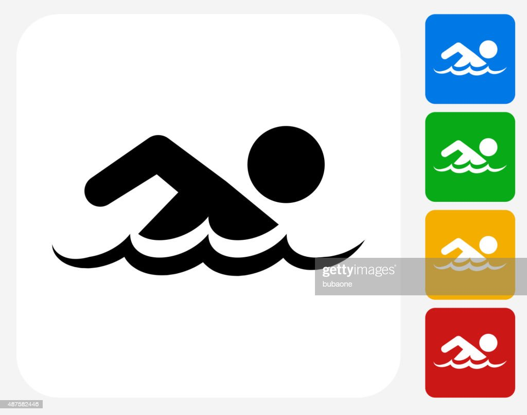 swimming icon flat graphic