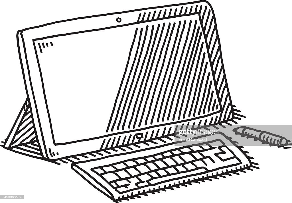 Tablet Computer Keyboard Pen Drawing stock illustration