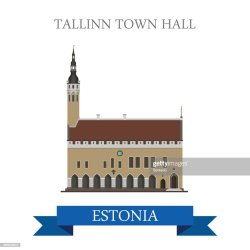 Tallinn Town Hall In Estonia Flat Cartoon Style Historic Sight Showplace Attraction Landmarks Web Site Vector Illustration World Countries Cities Vacation Travel Sightseeing Collection High Res Vector Graphic Getty Images