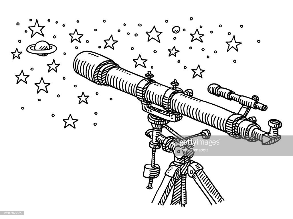 Telescope Space Exploration Stars Drawing High-Res Vector