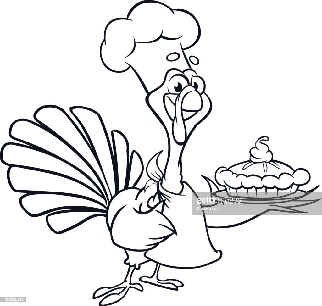Thanksgiving Funny Cartoon Turkey Chief Cook Serving