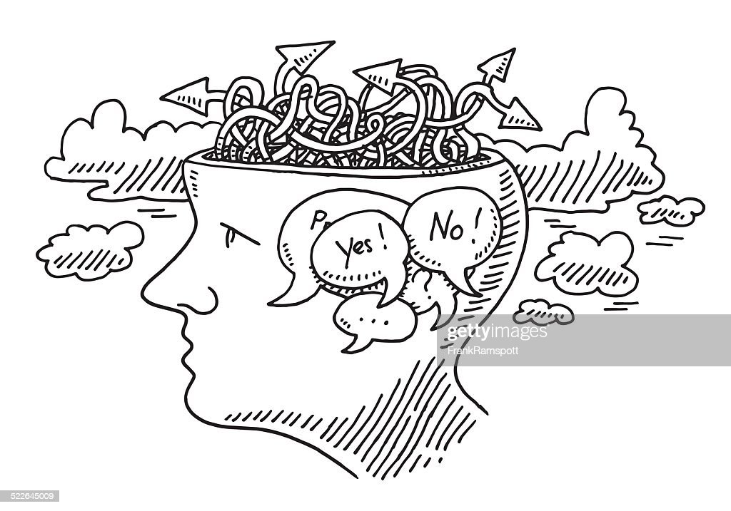 Thinking Uncertainty Concept Head Drawing Vector Art