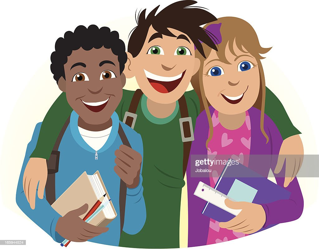 Three Friends At School Vector Art Getty Images