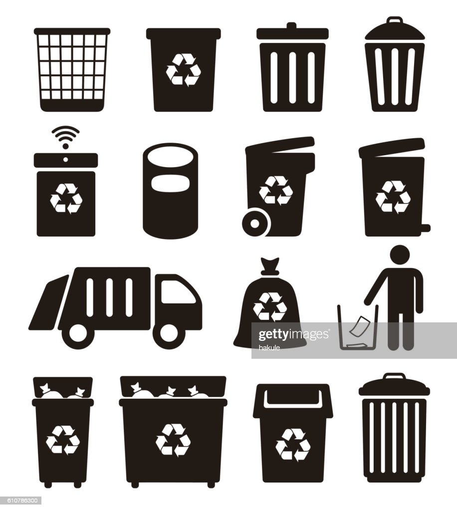 hight resolution of trash garbage and recycling can icons vector illustration