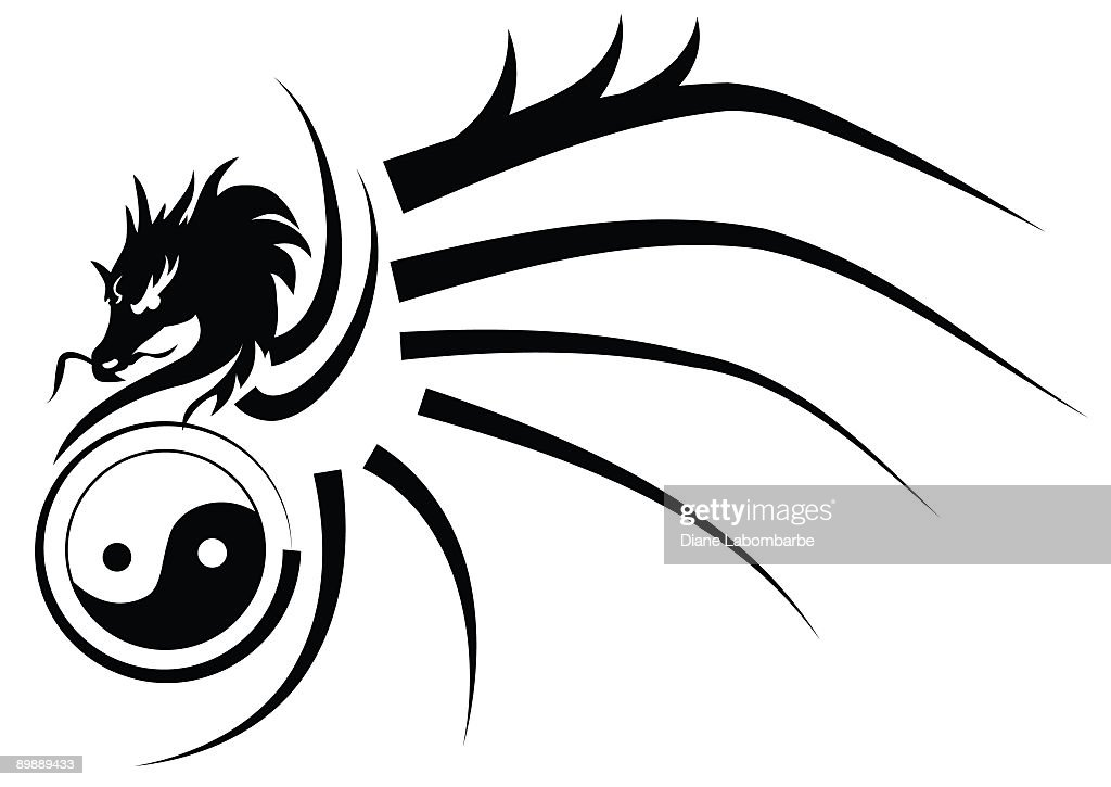Tribal Yinyang Dragon Tattoo Style Black And White Silhouette Stock