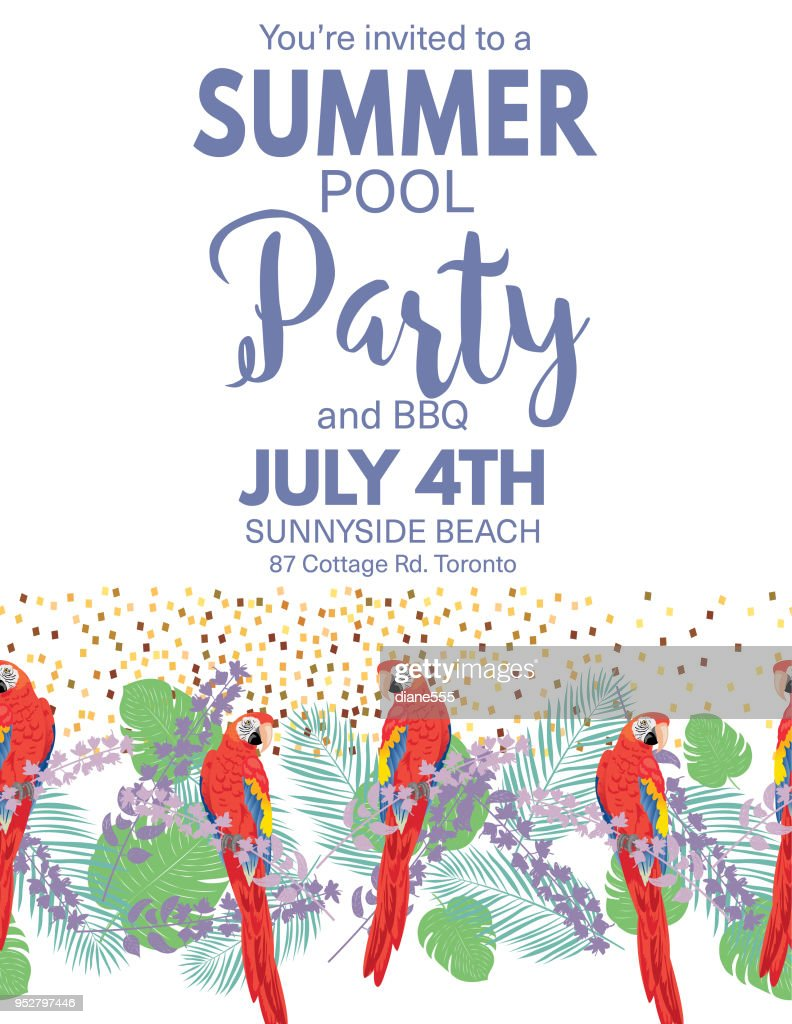 Tropical Background Pool Party Invitation : Vector Art