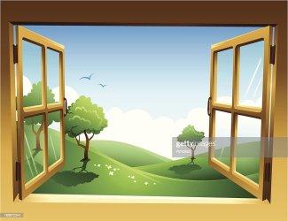 window open through spring vector landscape clip dimensional illustrations illustration cartoons twodimensional