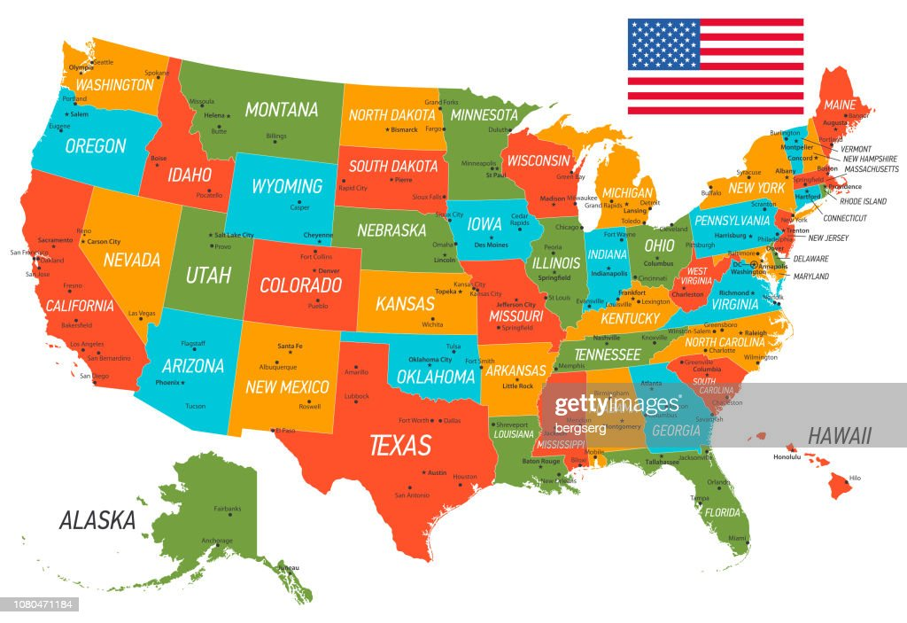 """You probably woke up this morning with big plans to """"really make some changes this year,"""" but you know what? United States Of America Map Vector Map With States And National Flag High Res Vector Graphic Getty Images"""