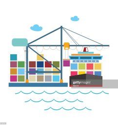 unloading containers from a cargo ship stock vector [ 1024 x 1024 Pixel ]