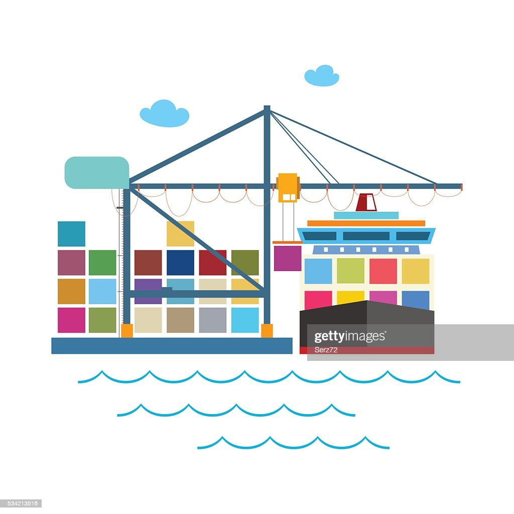 hight resolution of unloading containers from a cargo ship stock vector