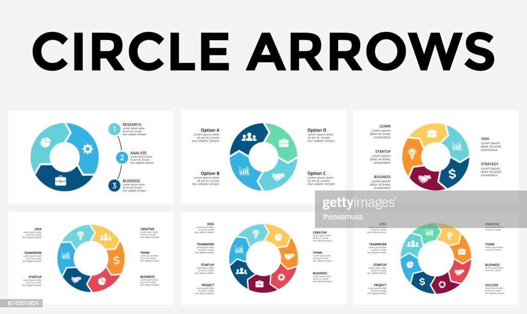 3 arrow circle diagram 1998 jeep tj wiring vector arrows infographic cycle graph presentation chart business concept with 4 5 6 7 8 options parts steps processes