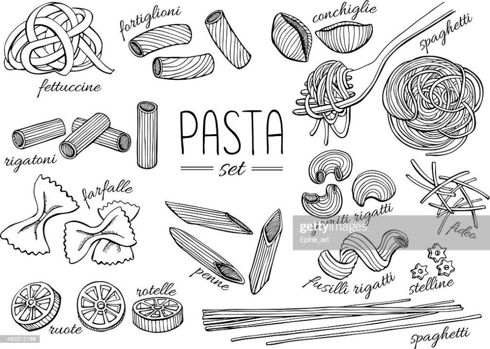 Vektor Hand Gezeichnete Pastaset