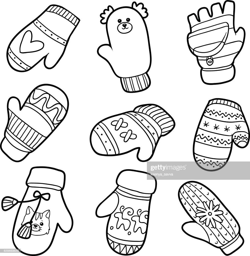 Vector Set Of Knitted Mittens With Animals And Geometric