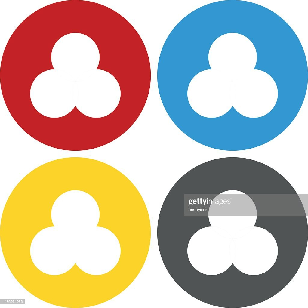 hight resolution of venn diagram icon on circle buttons vector art