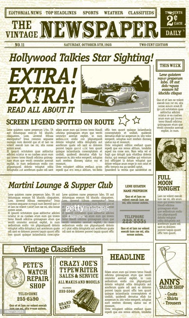 Vintage Newspaper Layout Design With Antique Elements