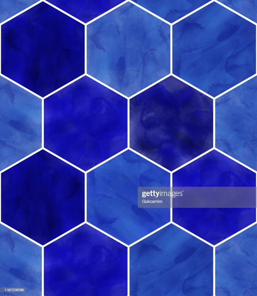 watercolor blue hexagon seamless pattern abstract background design elementvector tile honeycomb pattern lisbon arabic geometric hexagon mosaic mediterranean seamless navy blue ornament high res vector graphic getty images