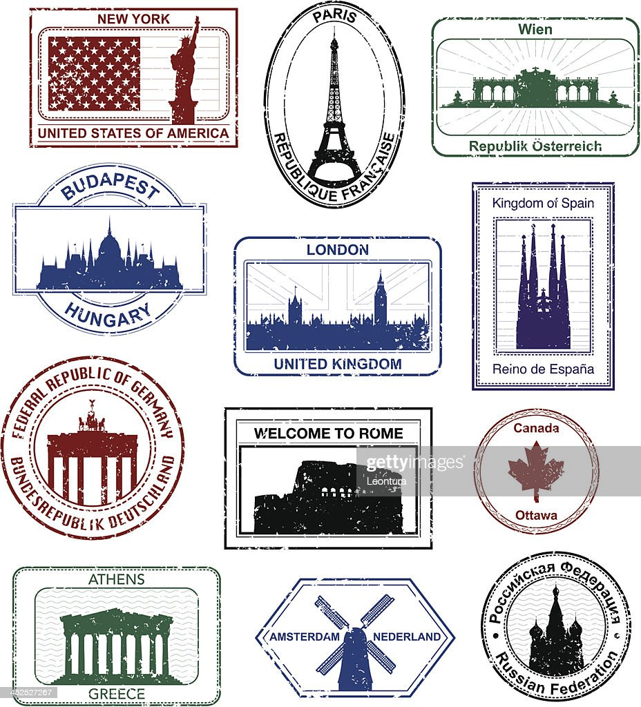 hight resolution of western passport stamps
