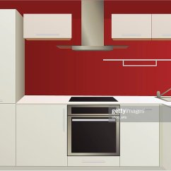 Red Kitchen Appliances Shaker Style Cabinets White And With Household Vector Art