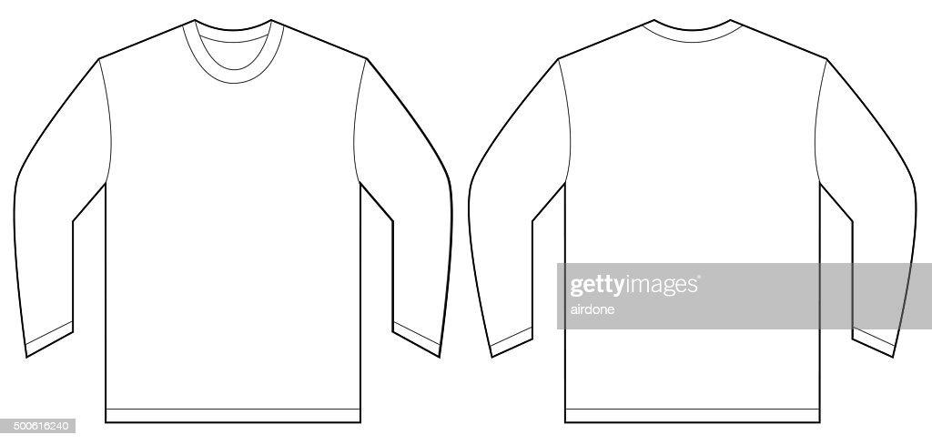 White Long Sleeve Tshirt Design Template Vector Art