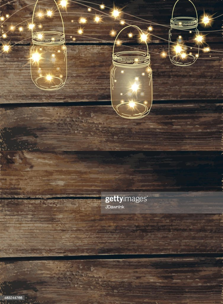 Wooden Background With Jar And String Lights stock
