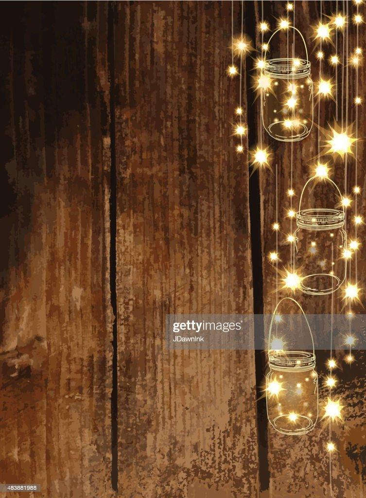 Wooden Background With Jar And String Lights Vector Art