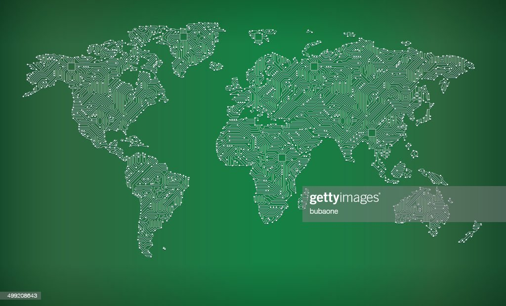 Vector Illustration Of Circuit Board Frame With Globe