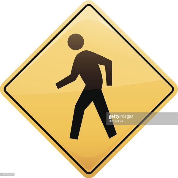 Yellow Walk Sign With Illustrated Man In Black Vector Art